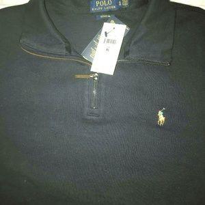Men's Polo  Blue Half-Zip Pullover Sweater